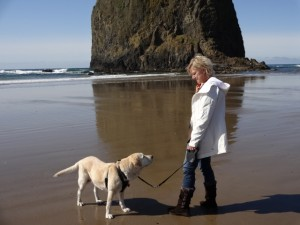 Bailey and Lori at Haystack Rock, Cannon Beach, Oregon